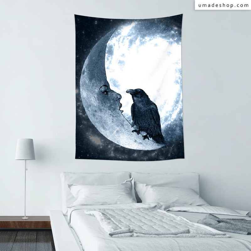 ★Wall Tapestry★ The Crow And Its Moon  - Barruf