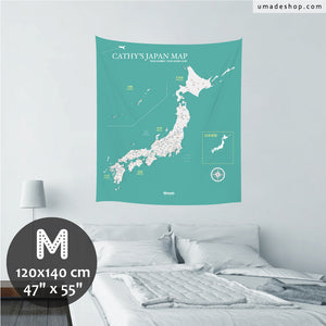 UMade, UMap Japan Map (wall hanging) Medium size & color demo on the wall in a room. Detailed size information and guide for reference.