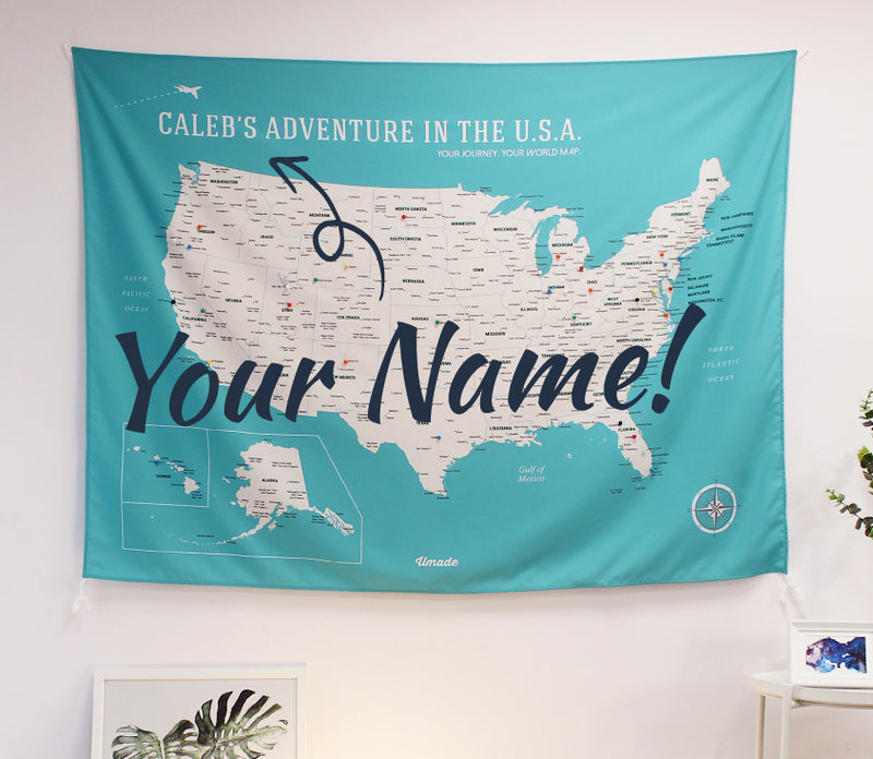 UMade, UMap, Personalised Large USA Map, map of the USA, custom quote U.S. map, Personalised map, Push pin USA map, Travel Map ideas, gift for kids, America map, lake green, green, your name map, best gift idea