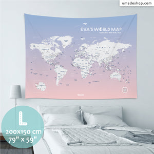 UMade, UMap PINK world map (wall hanging) Large size & color demo on the wall in a room . Detailed size information and guide for reference.