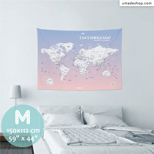 UMade, UMap PINK world map (wall hanging) Medium size & color demo on the wall in a room . Detailed size information and guide for reference.
