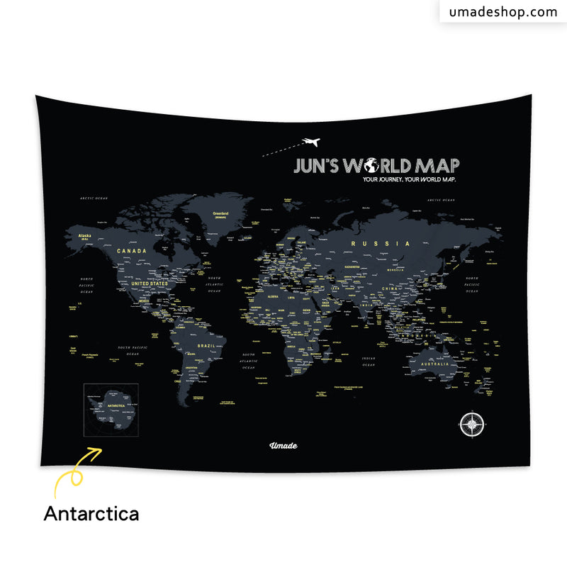 World Map-Starry Black-With Antarctica