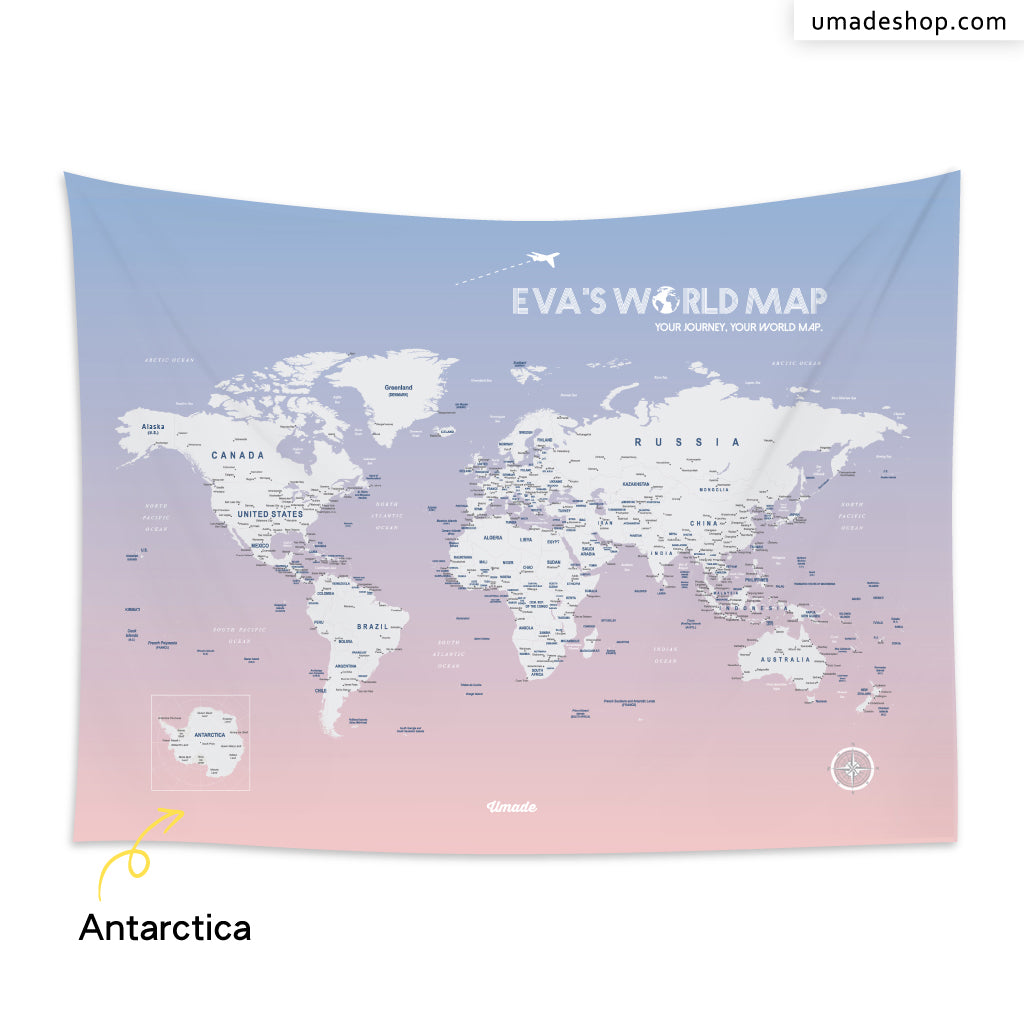 Your personalized world map tapestry rose quartz serenity umade world map rose quartz serenity with antarctica gumiabroncs Choice Image