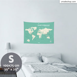 UMade, UMap world map (wall hanging) Small size & color demo on the wall in a room . Detailed size information and guide for reference.