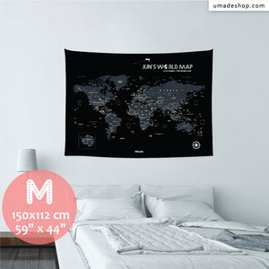 UMade, UMap BLACK world map (wall hanging) Medium size & color demo on the wall in a room . Detailed size information and guide for reference.