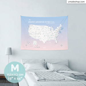UMap。U.S.A. Map - Rose Quartz & Serenity
