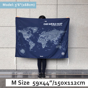 UMade, UMap world map (wall hanging) Medium size & color demo on the wall in a room . Detailed size information and guide for reference.