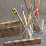 4 x Pack Bamboo Toothbrush Set by MYPURECORE | Eco-Friendly Biodegradable Bamboo Toothbrushes with 4 Beautiful Colours | BPA-Free and Vegan Friendly | Medium Soft Bristles – Perfect for the Whole Family | FREE E-BOOK INCLUDED