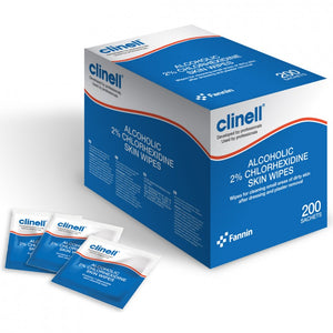 Clinell 2% Chlorhexidine in 70% Alcohol Skin Wipes - Pack of 200