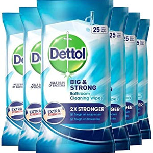 Dettol Big and Strong Bathroom Cleaning Wipes (6 Pack)- 25 Extra Large Wipes