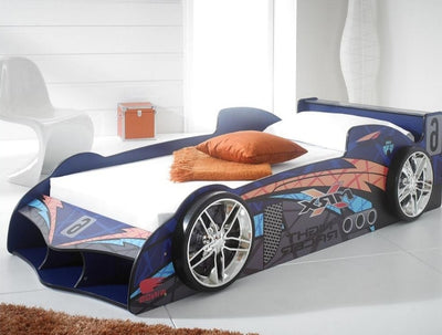 Children's 3FT Single Kids MRX Blue Racing Car Bed Frame-Children's Bed-Chic Concept