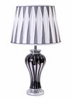 Marble Silver / Black Ceramic Base & Pleated Silk Fabric Shade Table Lamp-Table Lamp-Chic Concept