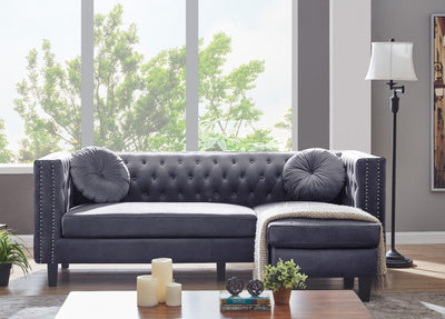 Grey Velvet Washington Chesterfield Corner Sofa-Chesterfield Sofa-Chic Concept