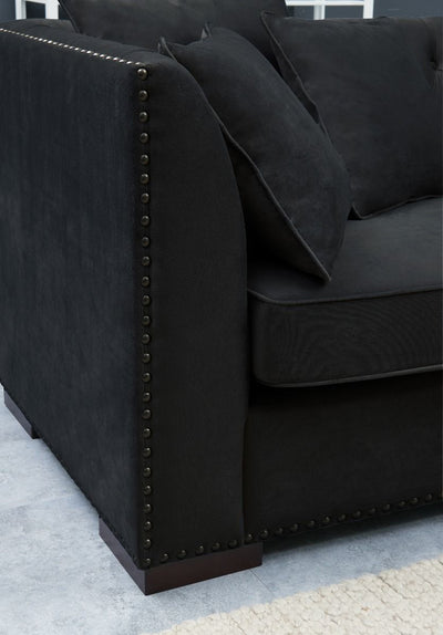 Modern Black Velvet Chesterfield Corner Sofa-Chesterfield Sofa-Chic Concept