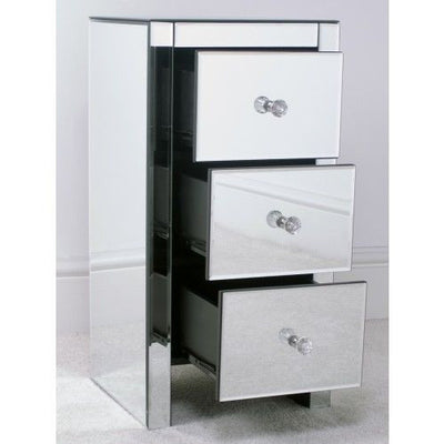 Small Mirrored Bedside Table Cabinet with 3 Drawers-Mirrored Furniture-Chic Concept
