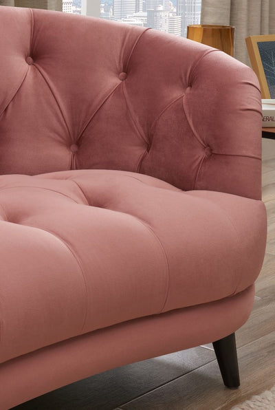 Seattle Pink Velvet Chesterfield Love Seat-Fabric Sofa-Chic Concept