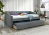 Ava Grey Fabric Chesterfield Guest Trundle Day Bed-Bunk Bed-Chic Concept