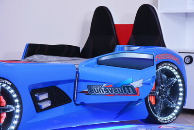 Children's Novelty GT Turbo Race Car Bed Blue - 3FT Single-Children's Bed-Chic Concept