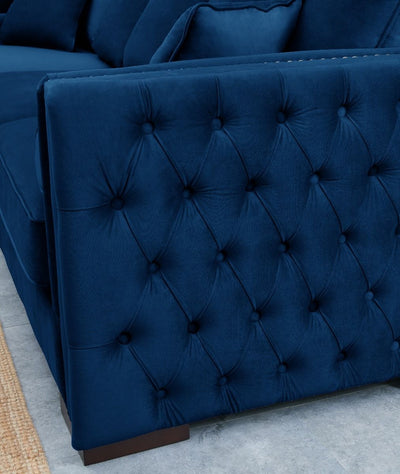 Royal Blue Velvet Moscow Corner Sofa-Fabric Sofa-Chic Concept
