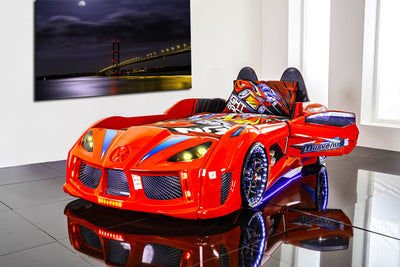 Children's Novelty GT Turbo Race Car Bed Red-3FT Single-Children's Bed-Chic Concept