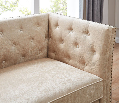 Rachel Chesterfield Champagne Shimmer Velvet Sofa Sets-Fabric Sofa-Chic Concept