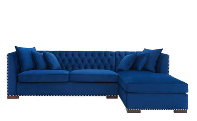 Royal Blue Velvet Chesterfield Corner Sofa-Chesterfield Sofa-Chic Concept