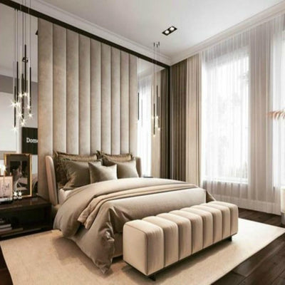 Vertical Design Fabric Upholstered Headboard Wall Panels-Headboard-Chic Concept