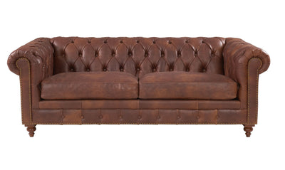 Chesterfield Brown Leather Sofa Sets-Chesterfield Sofa-Chic Concept