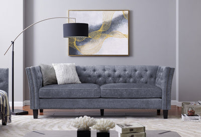 Rachel Chesterfield Grey Shimmer Velvet Sofa Sets-Fabric Sofa-Chic Concept