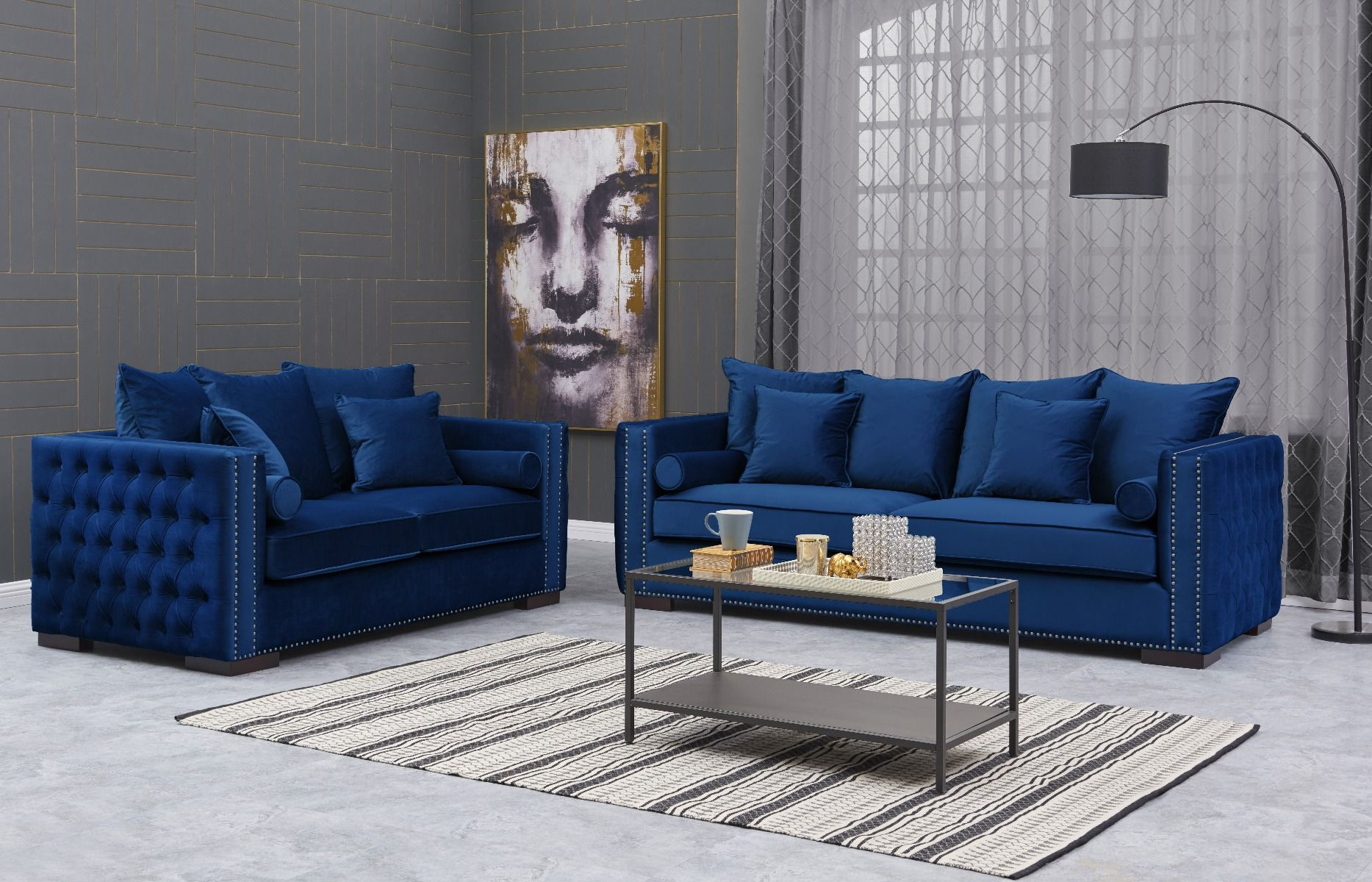 Royal Blue Velvet Moscow Sofa Sets Chic Concept