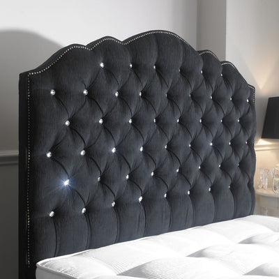 Amelia Curved Chesterfield Diamond Bespoke Headboard-Headboard-Chic Concept