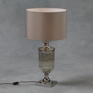 Antiqued Glass Urn Lamp with Taupe Cylinder Shade-Table Lamp-Chic Concept