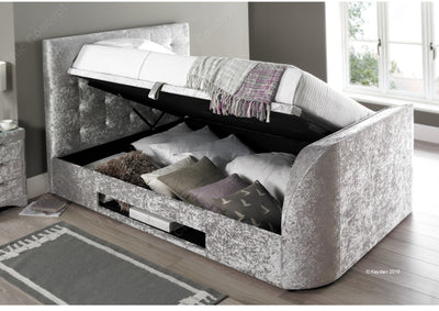 4FT6 Double-Barnard TV Ottoman Storage Bed Silver Crushed Velvet-TV Bed-Chic Concept