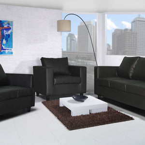Box Sofa - 2 Seater & 3 Seater Set in Black PU Leather-Leather Sofa-Chic Concept