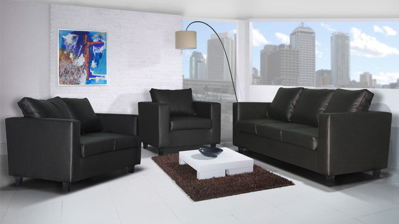 Box Sofa   2 Seater U0026 3 Seater Set In Black PU Leather Leather Sofa