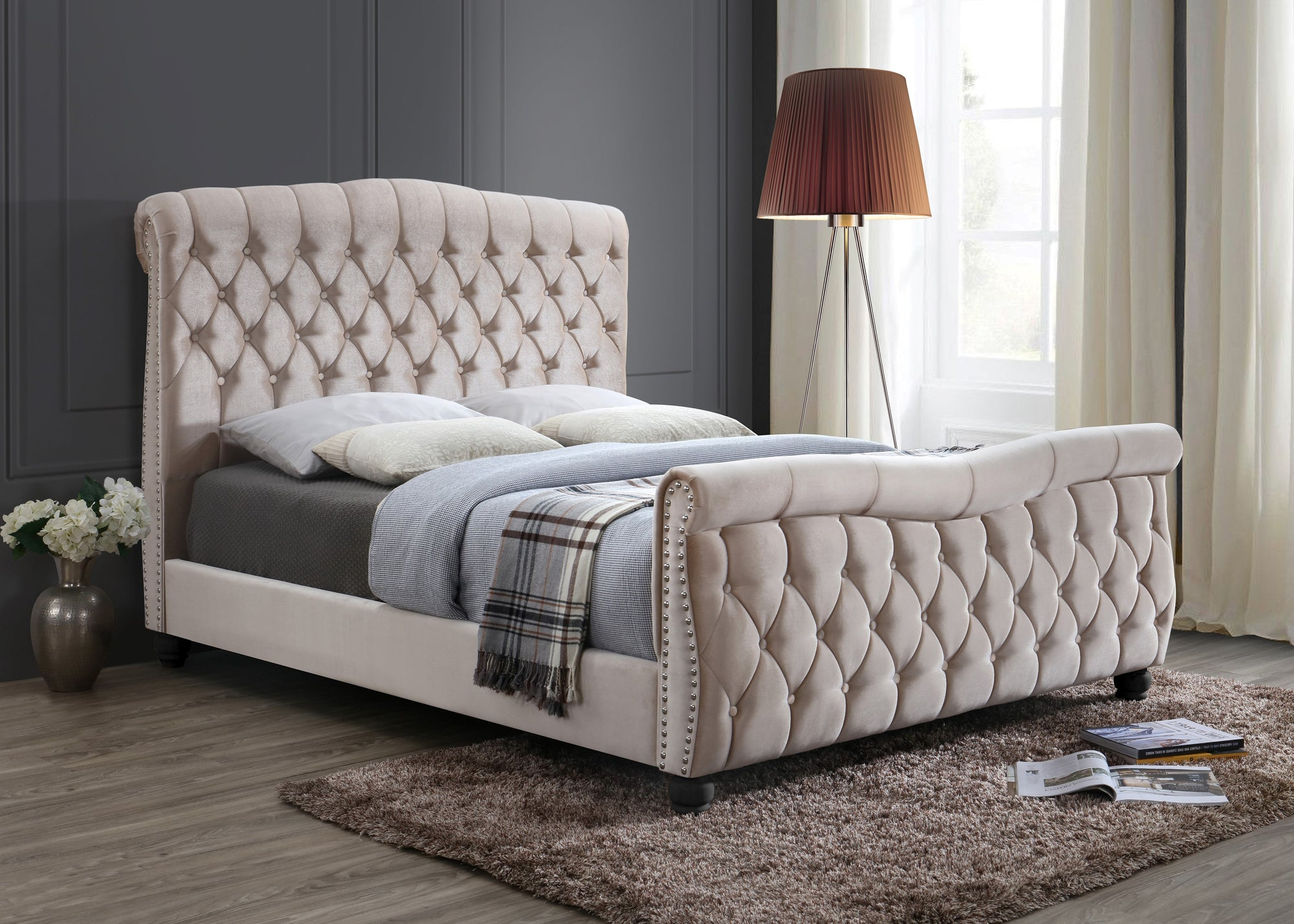 - Windsor Chesterfield Upholstered Sleigh Bed - Chic Concept