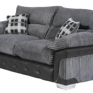 Ascot Sofa - 2 Seater & 3 Seater Set in Grey Jumbo Cord Fabric and Faux Leather-Leather & Fabric Sofa-Chic Concept