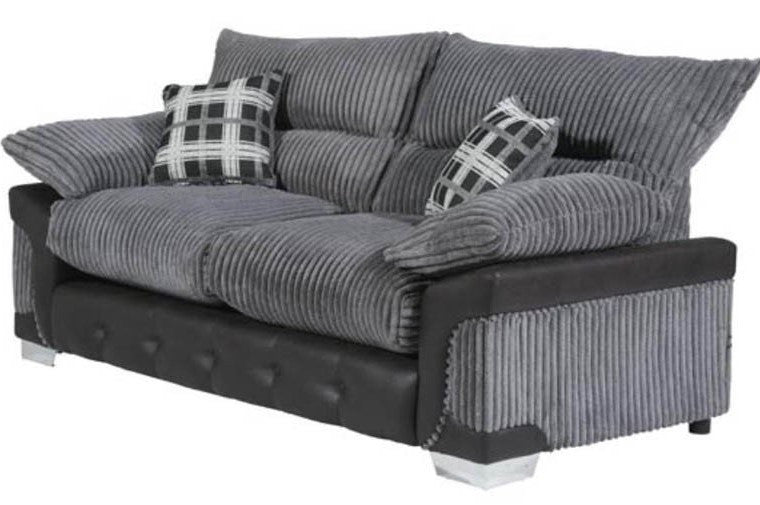 Ascot Sofa   2 Seater U0026 3 Seater Set In Grey Jumbo Cord Fabric And Faux