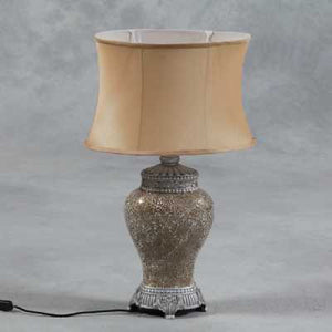Champagne Mosaic Lamp with Champagne Oval Shade-Table Lamp-Chic Concept