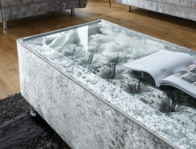 Bespoke UK Made Chesterfield Deep Buttoned Glass Coffee Table-Coffee Table-Chic Concept