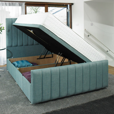 Easy storage with the gas hydraulic system on the Coniston Striped Bespoke Ottoman Bed by Chic Concept