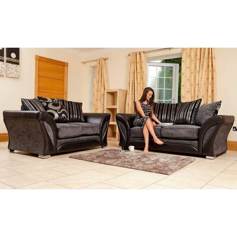 Great Contemporary Sarah Black Leather And Silver Fabric 3 And 2 Seater Sofa Set Fabric  Sofa