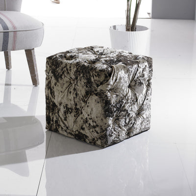 Chesterfield Buttoned Upholstered Cube Stool / Dressing Table Stool / Footstool-Footstool-Chic Concept