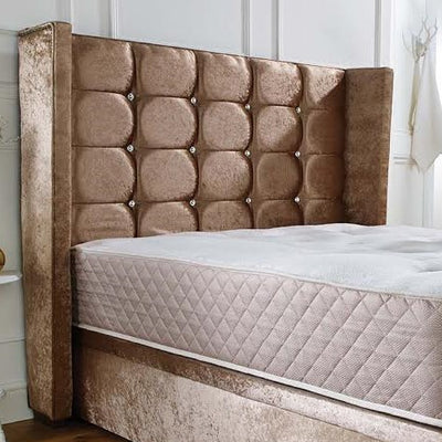 Distinctive Winged Headboard on the Livingston Wingback Bespoke Ottoman Bed by Chic Concept