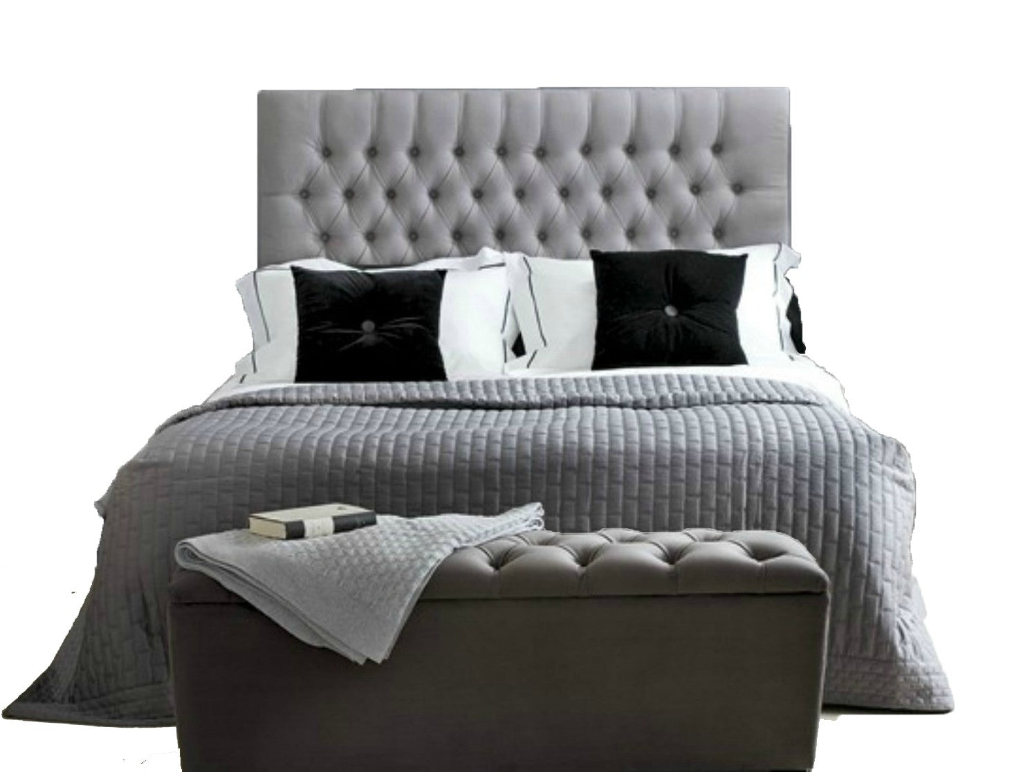 Headboard Chenile Fabric - 2 Drawers 4ft Small Double Light Grey Divan Bed with Orthopaedic Mattress