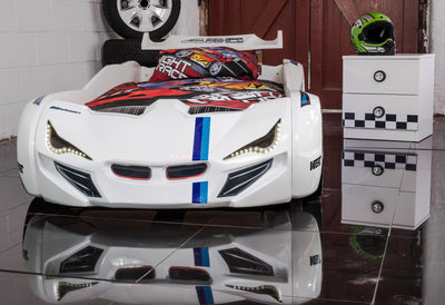 Children's Novelty Flash GT Car Race Bed White-3FT Single-Children's Bed-Chic Concept