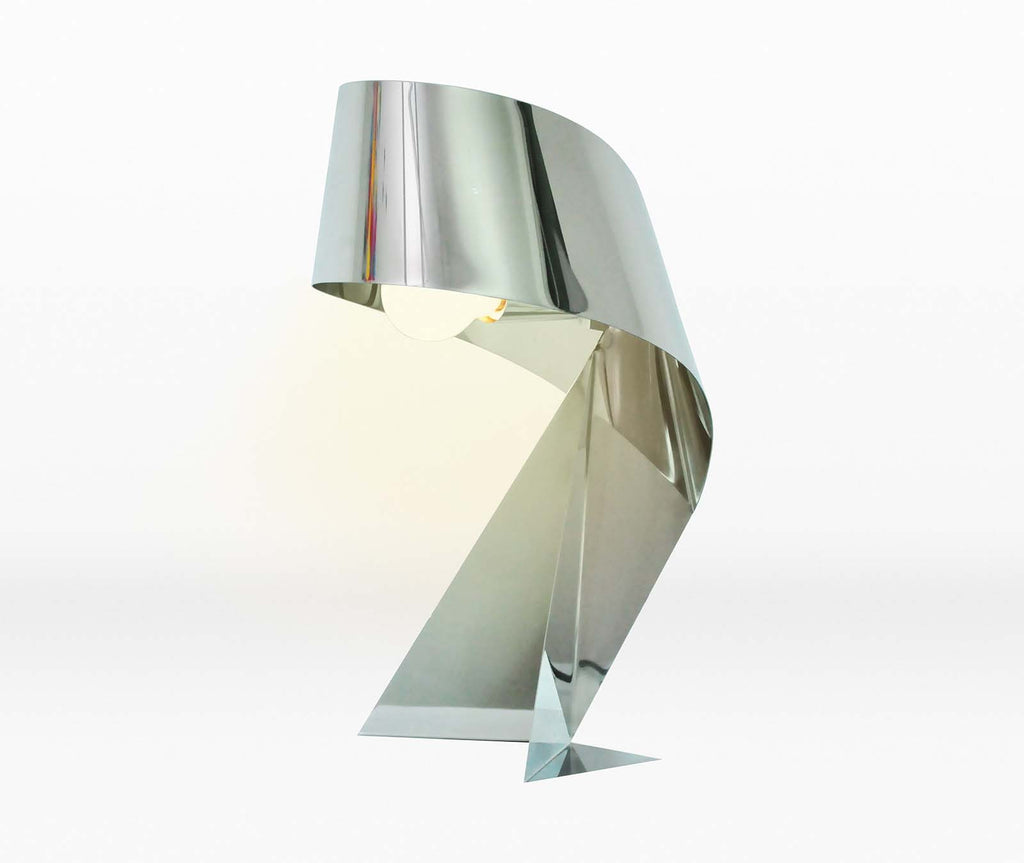 Chrome Metal Twisted Ribbon Table Lamp