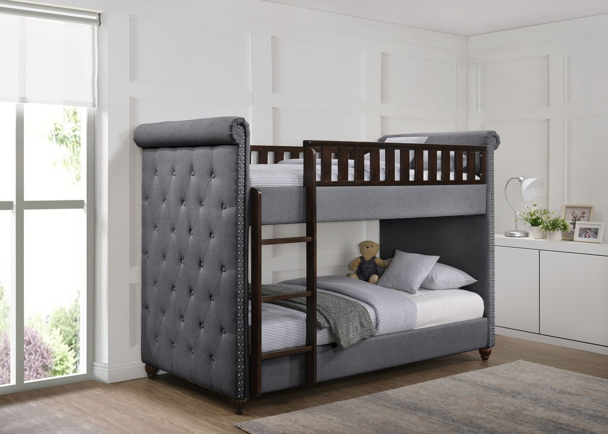 Ava Childrens Dark Grey Linen Fabric Chesterfield Bunk Bed Chic