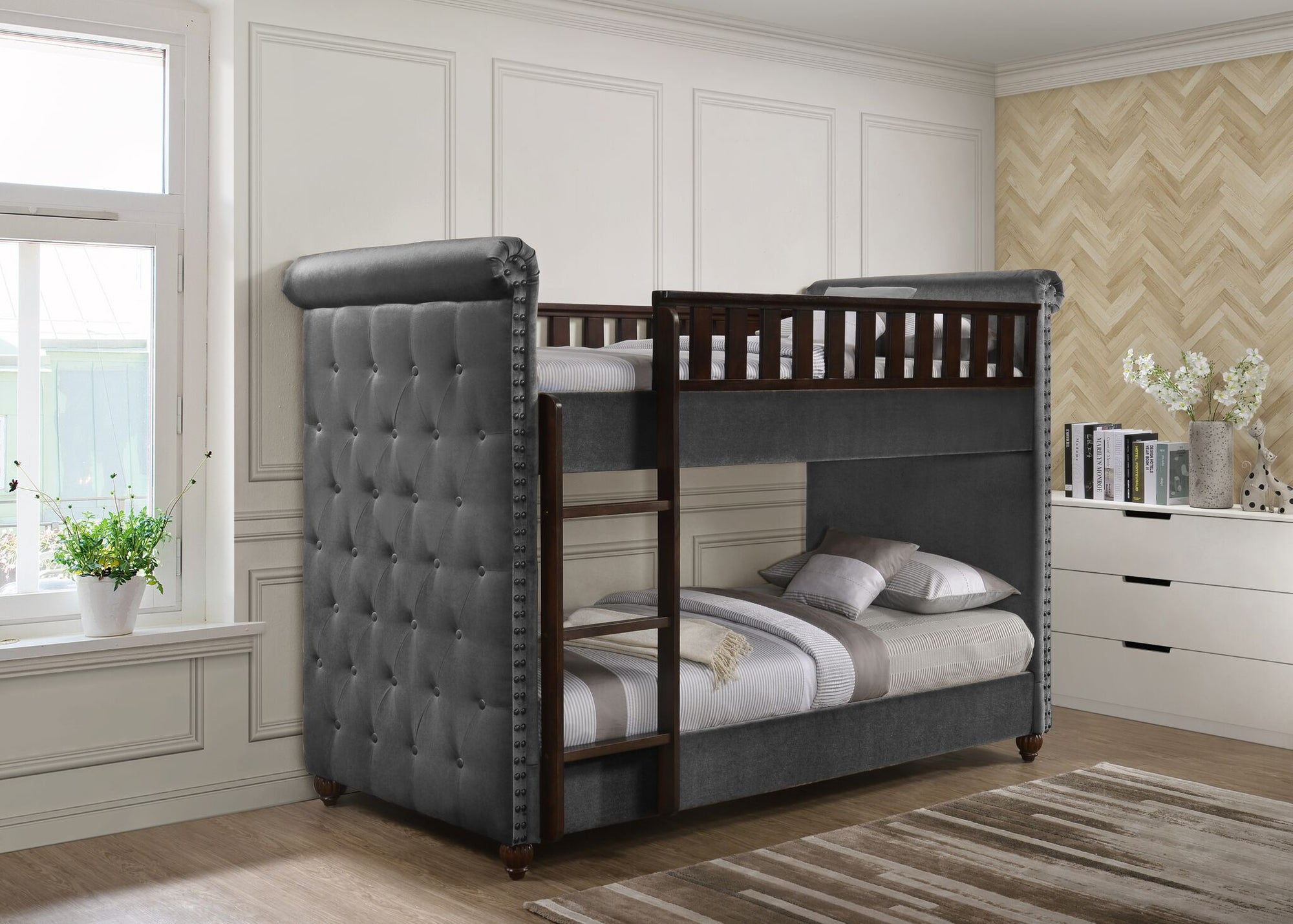 Ava Childrens Grey Velvet Fabric Chesterfield Bunk Bed Chic Concept