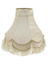 Cream Fabric Double Scollop With Tassel Shade-Lamp Shades-Chic Concept